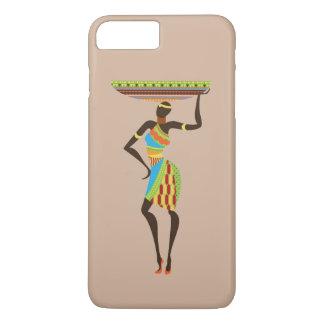 Señora tribal africana con arte tribal de la cesta funda iPhone 7 plus