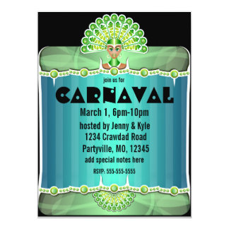 Señora verde Carnaval Invitations del pavo real Invitación