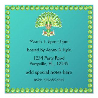 Señora verde Carnaval Invitations del pavo real Comunicado Personal