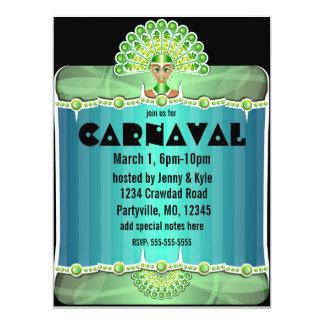 Señora verde Carnaval Invitations del pavo real Invitación 16,5 X 22,2 Cm