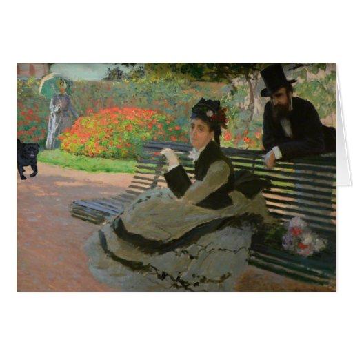 Señora With Black Pug del jardín Tarjeton