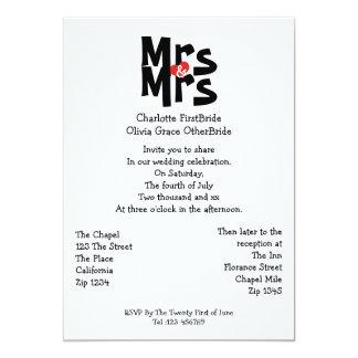 Señora y boda de señora Modern Bold Gay Lesbian Invitación 12,7 X 17,8 Cm