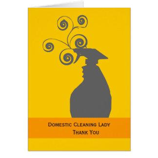 Señora y economía doméstica de la limpieza tarjeta de felicitación