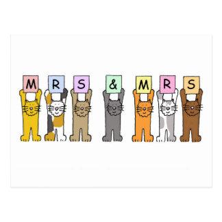 Señora y señora enhorabuena lesbiana del boda postal