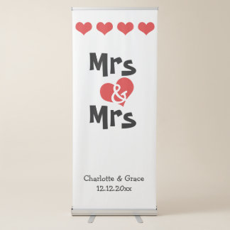 Señora y señora Heart Lesbian Wedding Personalized Pancarta Retráctil
