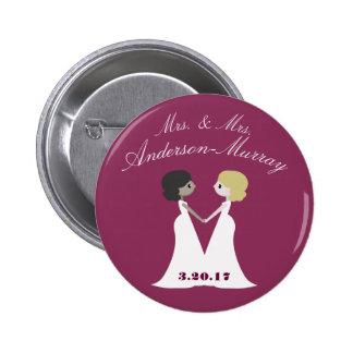 Señora y señora Wedding Chapa Redonda De 5 Cm