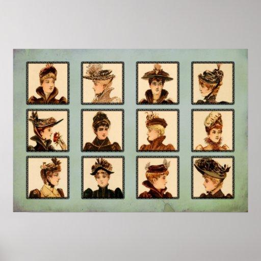 Señoras del Victorian del vintage en collage de lo Posters