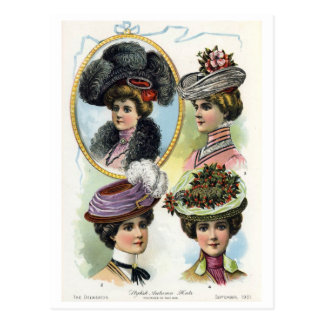 Señoras del vintage en postal de los gorras II