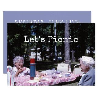 Señoras mayores de la comida campestre del verano invitación 12,7 x 17,8 cm