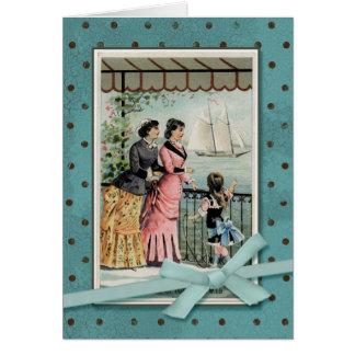 Señoras y chica del Victorian por el mar Tarjeta De Felicitación