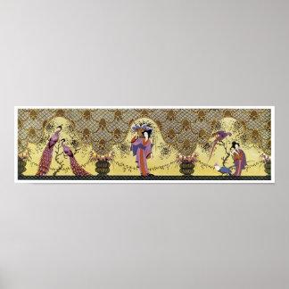 Señoras y pavos reales japoneses del art déco póster