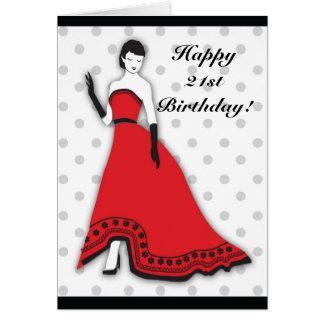 Senorita clásico en rojo tarjeta de felicitación