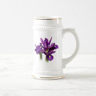 Sensación de la púrpura del iris holandés jarra de cerveza