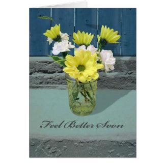 Sensación mejor pronto, amarillas y blancas tarjeta de felicitación
