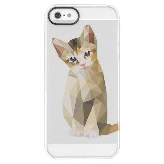 Sentada marrón geométrica del gato funda permafrost™ deflector para iPhone 5 de uncom