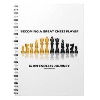 Sentir bien a un gran jugador de ajedrez es viaje libros de apuntes con espiral