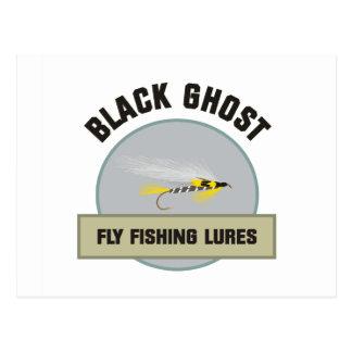 Señuelo negro de la pesca con mosca del fantasma postal