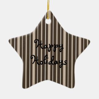 Sepia de las telas a rayas 2 - buenas fiestas adorno de cerámica en forma de estrella