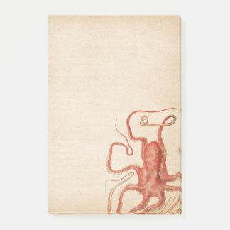 Sepia envejecida pulpo rojo Steampunk Notas Post-it®