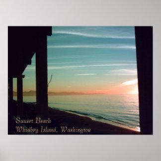 sept. fresco que iguala 001, puesta del sol BeachW Póster