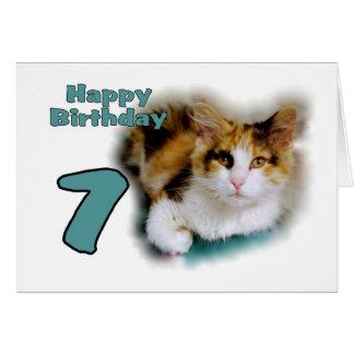 Séptima tarjeta feliz del gato de calicó del cumpl