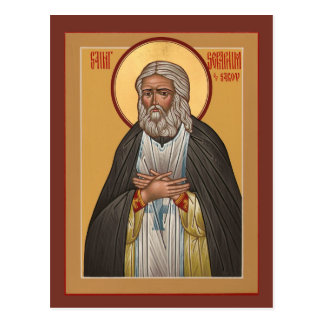 Seraphim del santo de la tarjeta del rezo de Sarov Postal