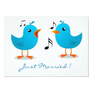 Serenata del Bluebird apenas casada Invitación 12,7 X 17,8 Cm