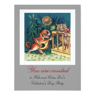 Serenata del el día de San Valentín de Louis Wain Invitación 10,8 X 13,9 Cm