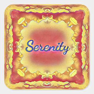 Serenidad enmarcada inspirada amarilla color de pegatina cuadrada