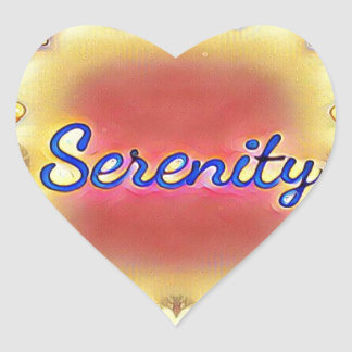 Serenidad enmarcada inspirada amarilla color de pegatina en forma de corazón