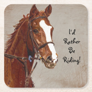 Sería bastante caballo de montar a caballo posavasos desechable cuadrado