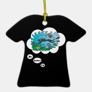 Sería bastante el buceo con escafandra 2 adorno de cerámica en forma de camiseta