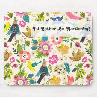 Sería bastante flores y pájaros de la primavera alfombrilla de ratón