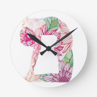 Serie floral de la yoga de Deco Reloj Redondo Mediano