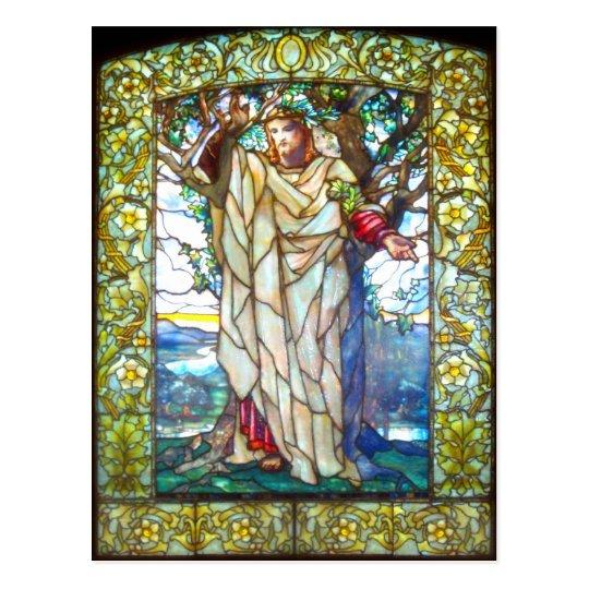 Sermón de la montaña de Jesús - vitral Postal