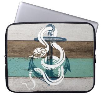 Serpiente azul del blanco del ancla del vintage fr funda para portátil