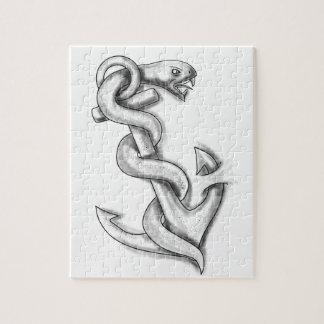 Serpiente de Asclepius que se encrespa para arriba Puzzle