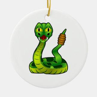 Serpiente de cascabel adorno navideño redondo de cerámica