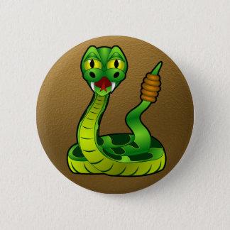 Serpiente de cascabel feliz chapa redonda de 5 cm