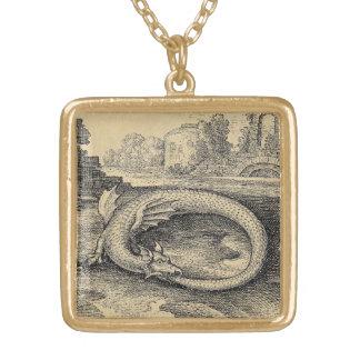 Serpiente de Chrysopoeia Ouroboros de Cleopatra Colgante Cuadrado