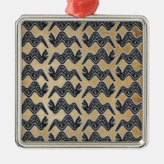 Serpiente mexicana adorno navideño cuadrado de metal