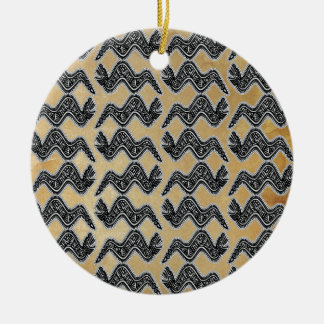 Serpiente mexicana adorno navideño redondo de cerámica