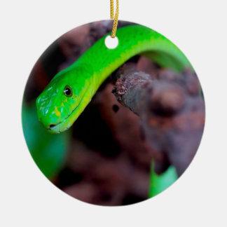 Serpiente verde del pitón adorno navideño redondo de cerámica