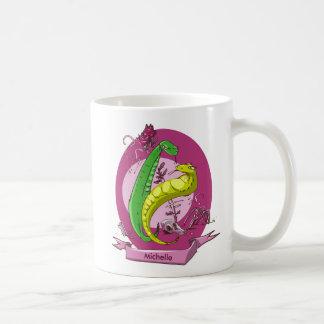 serpiente y el ejemplo color de rosa del estilo taza de café