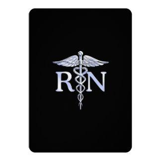 Serpientes del caduceo del RN de la enfermera Invitación 12,7 X 17,8 Cm