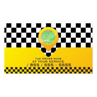 Servicio amarillo del conductor de taxi tarjetas de visita