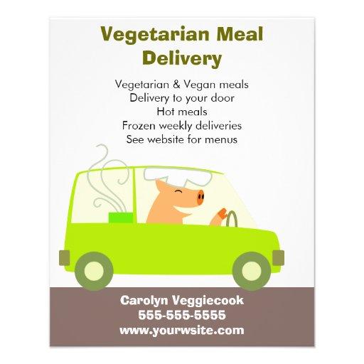Servicio de entrega vegetariano de la comida tarjetón