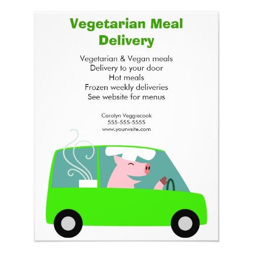 Servicio de entrega vegetariano de la comida tarjetas informativas