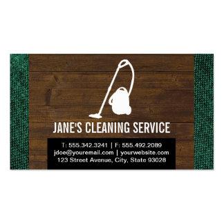 Servicio de la limpieza (madera y tela) tarjetas de visita