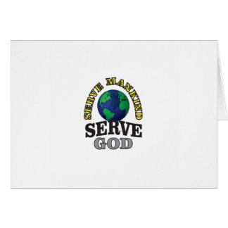 servicio del globo a dios y al hombre tarjeta
